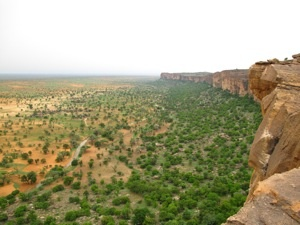 Vista de la falla de Bandiagara, eje del pais Dogon